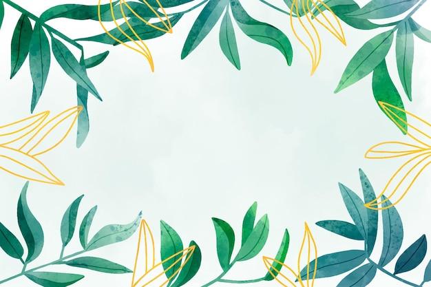 Desenho de fundo de folhas em aquarela