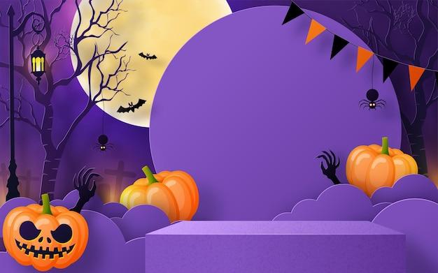 Desenho de fundo de halloween com pódio de palco em caixa quadrada redonda 3d podium