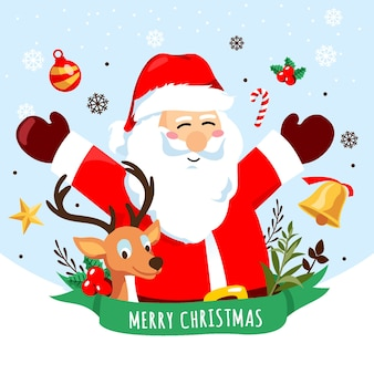 Desenho de fundo de natal com papai noel
