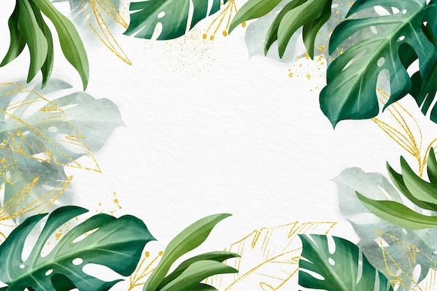 Desenho de fundo de natureza com folha dourada
