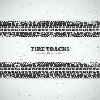Desenho de fundo de trilhos de pneus de vetor
