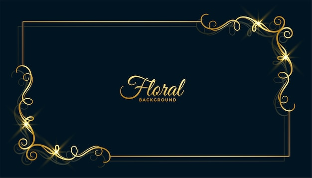 Desenho de fundo dourado com moldura floral