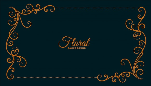 Desenho de fundo escuro de moldura de canto floral ornamental