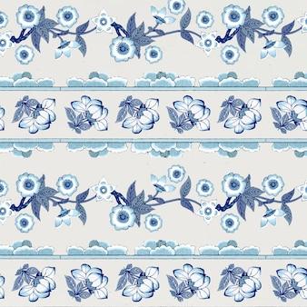 Desenho de fundo estampado floral azul marinho