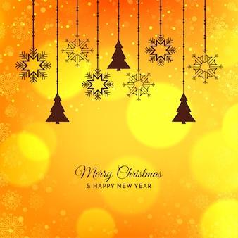 Desenho de fundo festivo de feliz natal amarelo brilhante