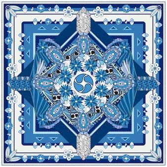 Desenho de fundo gracioso de mandala com elementos florais