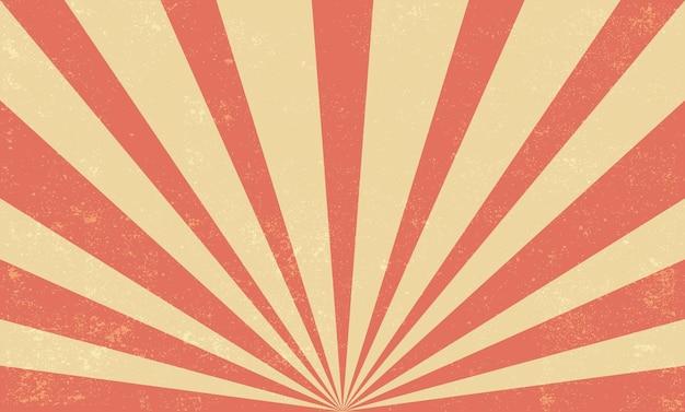 Desenho de fundo retrô de explosão de sol vermelho
