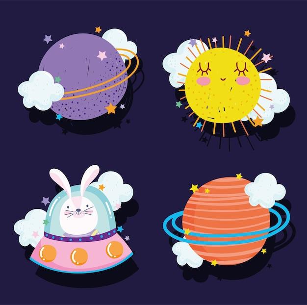 Desenho de galáxia de aventura espacial em ícones de estilo definir planeta ufo sol e ilustração de coelho