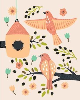 Desenho de galho com casa de passarinho