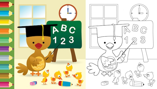 Desenho de galinha engraçada com filhotes de pato em sala de aula