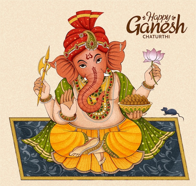 Desenho de ganesh chaturthi feliz com ganesha sentado em um cobertor floral