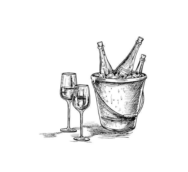 Desenho de garrafa de vinho, copo de vinho tinto. ilustração em vetor esboço desenhado à mão.