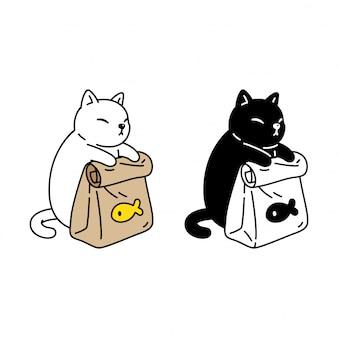 Desenho de gatinho de ícone de comida de gato
