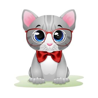 Desenho de gatinho fofo de óculos vermelhos e arco