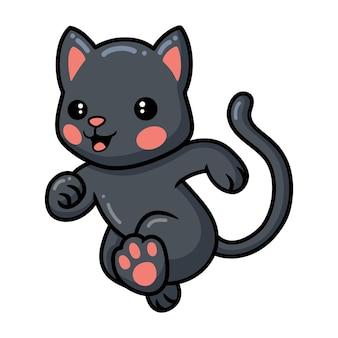 Desenho de gatinho preto fofo correndo