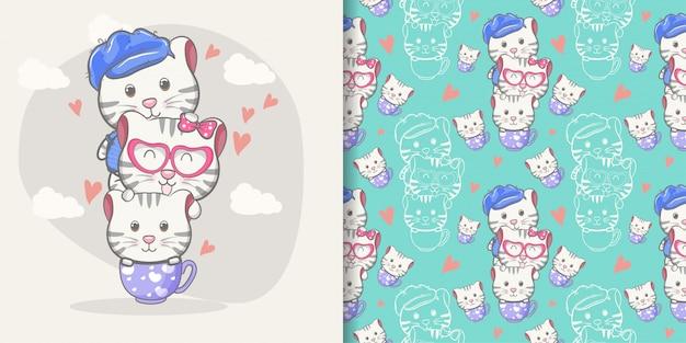 Desenho de gato bonito com conjunto padrão