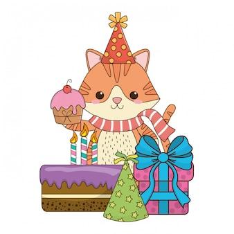 Desenho de gato com ícone de feliz aniversário