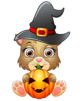 Desenho de gato com um chapéu de bruxa segurando a abóbora