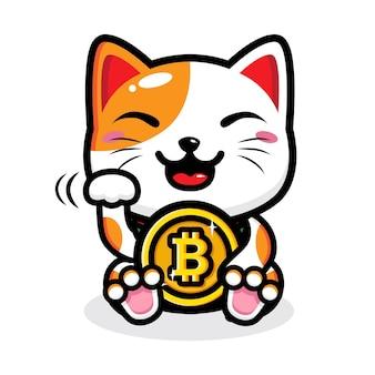 Desenho de gato da sorte segurando bitcoin