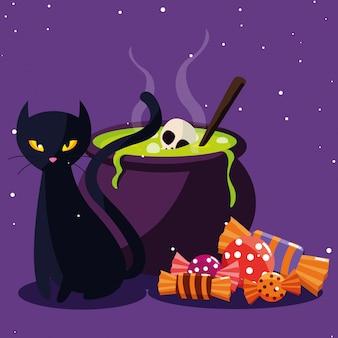 Desenho de gato do dia das bruxas