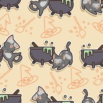 Desenho de gato e caldeirão sem costura padrão