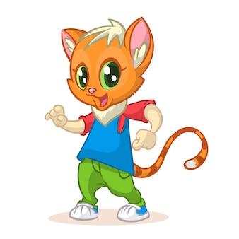 Desenho de gato engraçado dançando