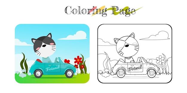 Desenho de gato engraçado em carro azul com livro para colorir de fundo de natureza ou página para fins múltiplos