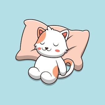 Desenho de gato fofo dormindo sobre um travesseiro