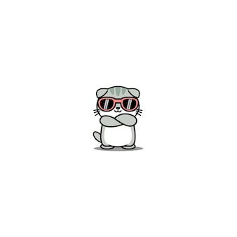 Desenho de gato fofo escocês com óculos de sol cruzando os braços