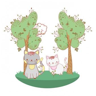 Desenho de gato gatinho ao ar livre