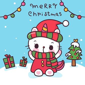 Desenho de gato unicórnio fofo com árvore de natal kawaii desenhada à mão