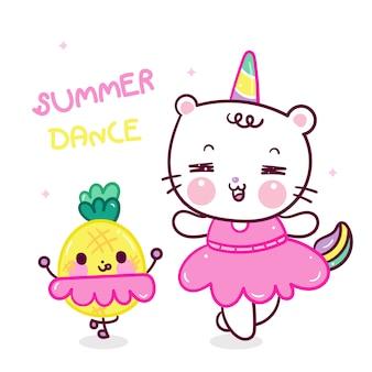 Desenho de gato unicórnio fofo e abacaxi dançam juntos