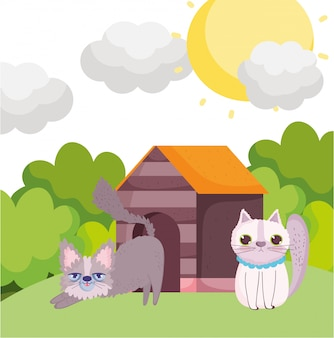 Desenho de gatos na grama com animais de estimação em casa