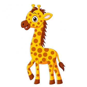 Desenho de girafa bebê fofo isolado no branco