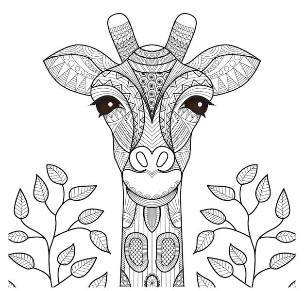 Desenho de girafa desenhado a mão