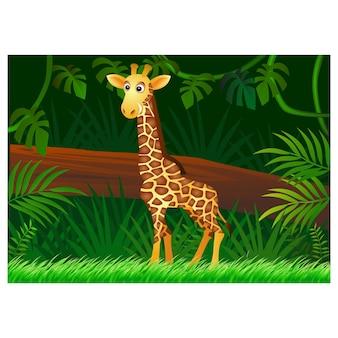 Desenho de girafa no fundo da floresta