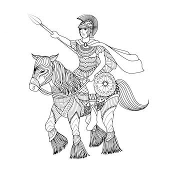 Desenho de gladiador desenhado a mão