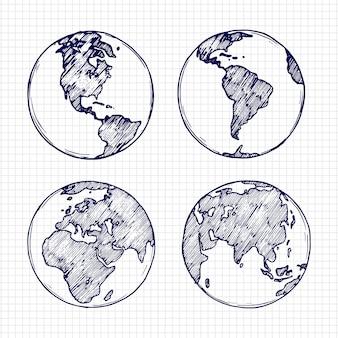 Desenho de globo. planeta terra desenhada de mão com ilustração vetorial de continentes