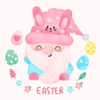 Desenho de gnomo em aquarela para o dia de páscoa com orelhas de coelho e ovos de páscoa no estilo kawaii