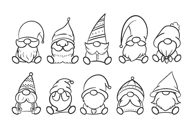 Desenho de gnomos de natal de arte em linha para livro de colorir isolado em um fundo branco.