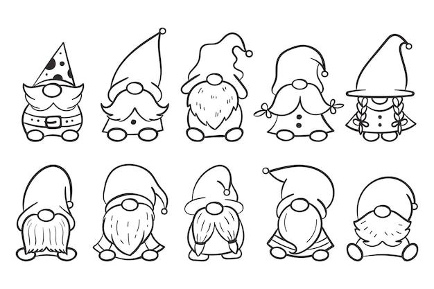 Desenho de gnomos de natal para livro de colorir isolado em um fundo branco.