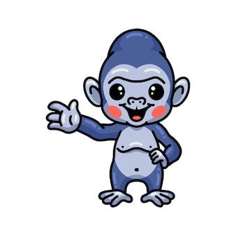 Desenho de gorila bebê fofo acenando com a mão