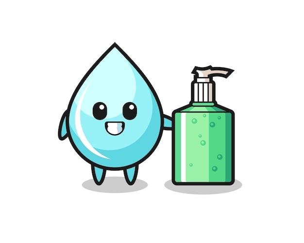 Desenho de gota de água fofo com desinfetante para as mãos, design de estilo fofo para camiseta, adesivo, elemento de logotipo