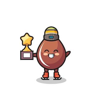 Desenho de gota de chocolate como um jogador de patinação no gelo segurando troféu de vencedor, design de estilo fofo para camiseta, adesivo, elemento de logotipo