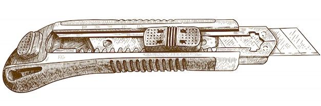 Desenho de gravura de canivete ou faca cortadora