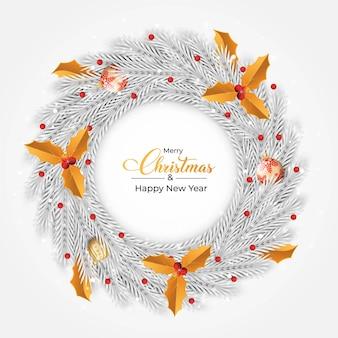 Desenho de grinalda de natal com bolas decorativas luxuosas nas cores vermelha e dourada