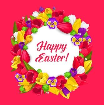 Desenho de guirlanda floral de páscoa em feriado religioso