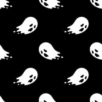 Desenho de halloween assustador fantasma sem costura padrão