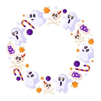 Desenho de halloween com moldura redonda ou grinalda com elementos - fantasma assustador, crânio, ossos, pirulito e pirulito, folha de outono - vetor isolado