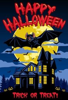 Desenho de halloween com morcego e casa assombrada